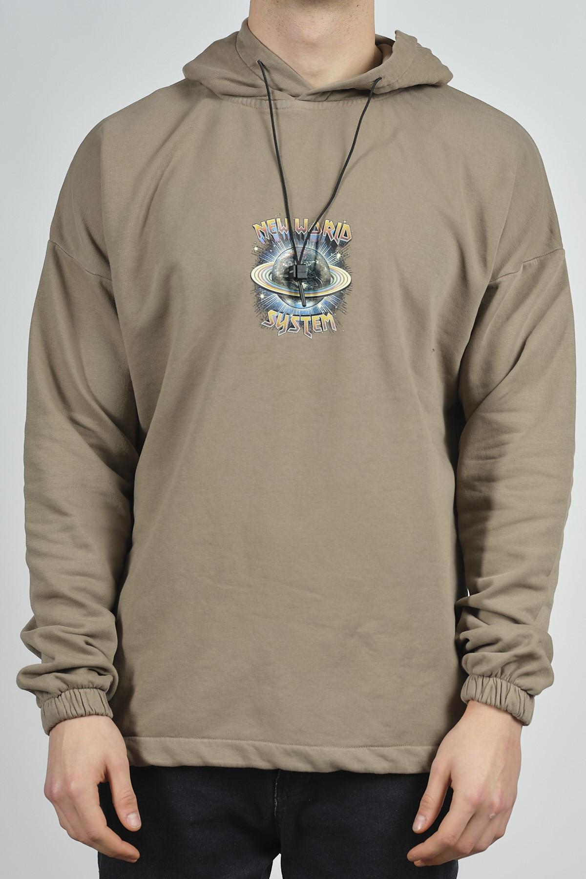 - Açık Kahve Yıkamalı Baskılı Sweatshirt 1KXE8-44281-39
