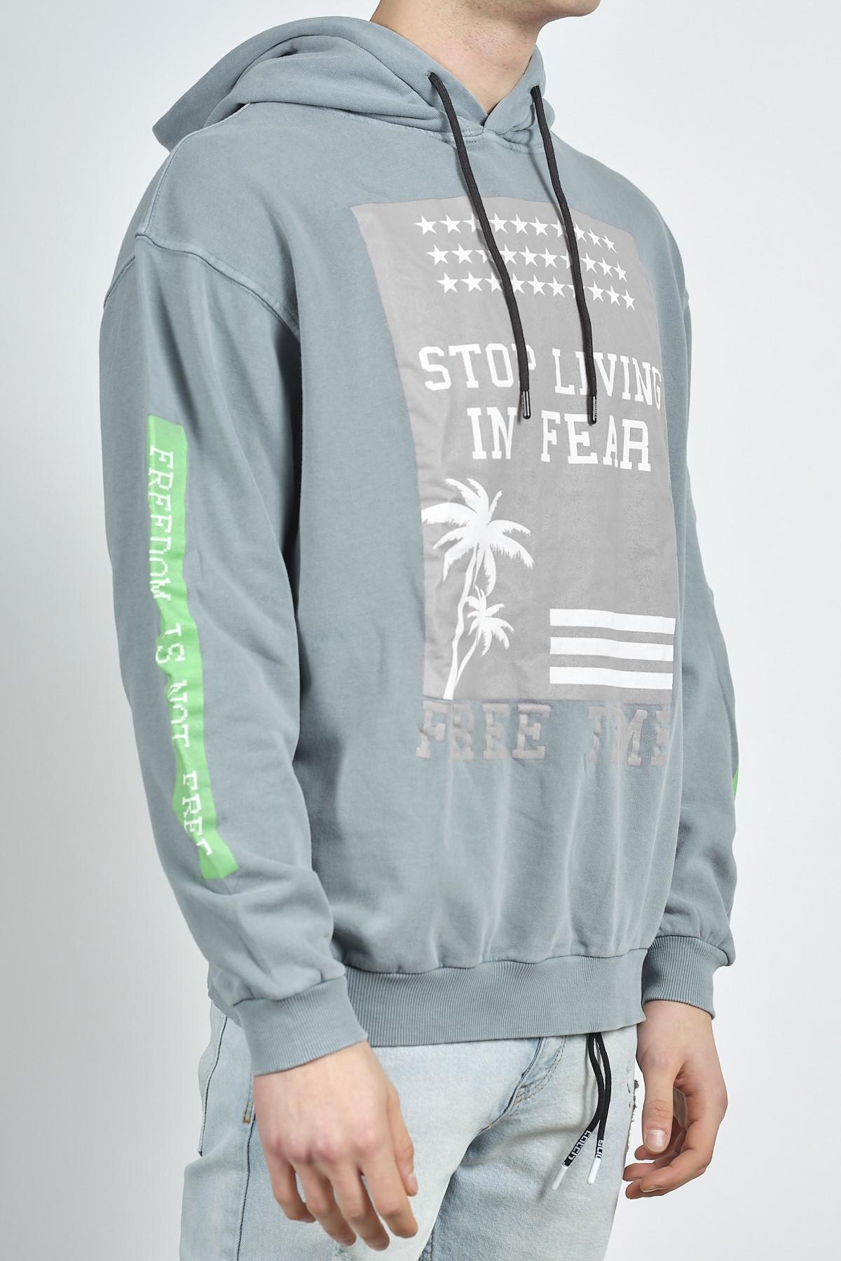 - Antrasit Baskılı Sweatshirt 1KXE8-44275-36