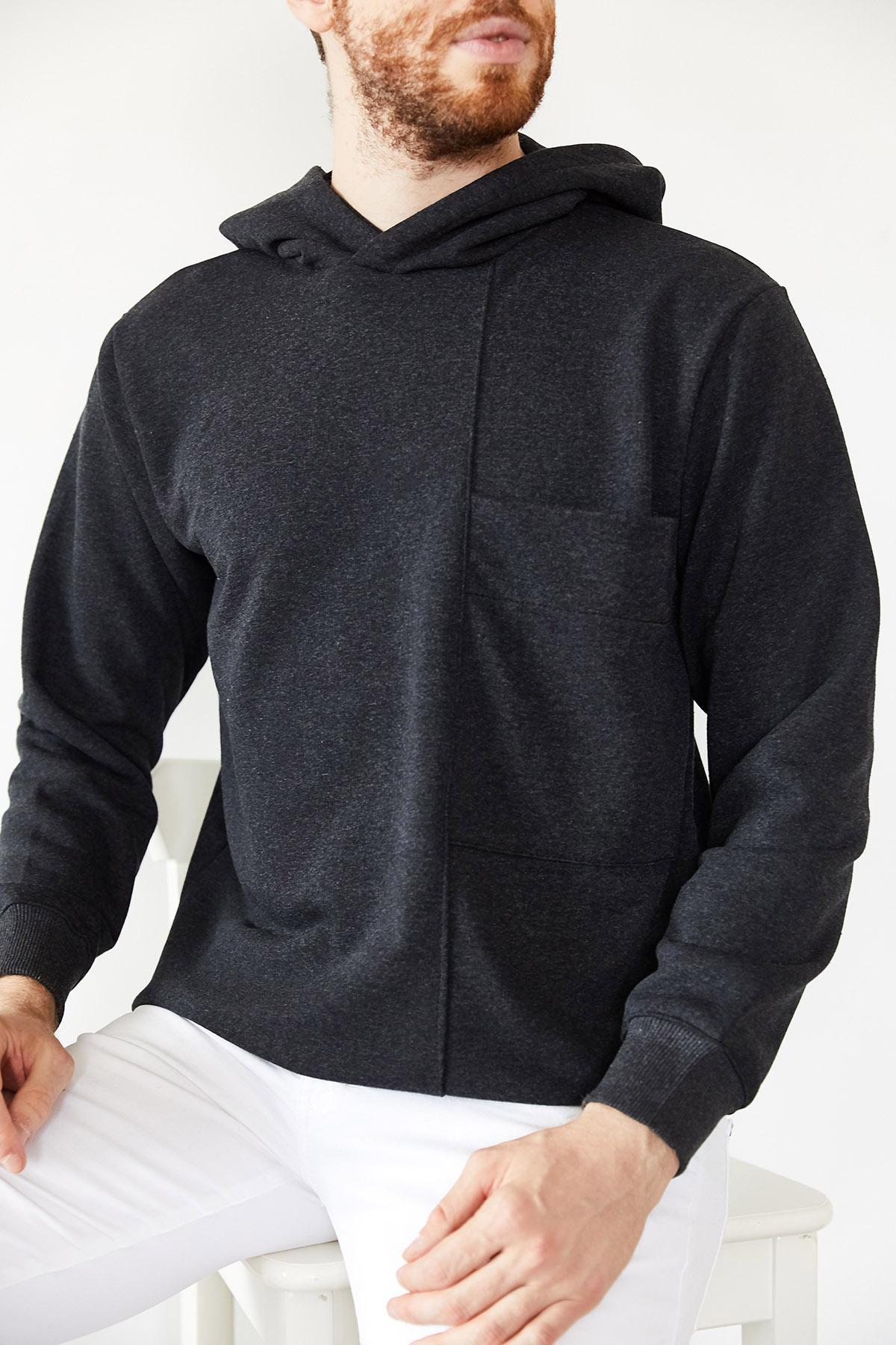 - Antrasit Geniş Cep Detaylı Üç İplik Kapüşonlu Sweatshirt 1KXE8-44177-36