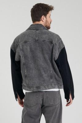Antrasit Kolları Siyah Yıkamalı Kot Ceket 1KXE4-44801-36 - Thumbnail