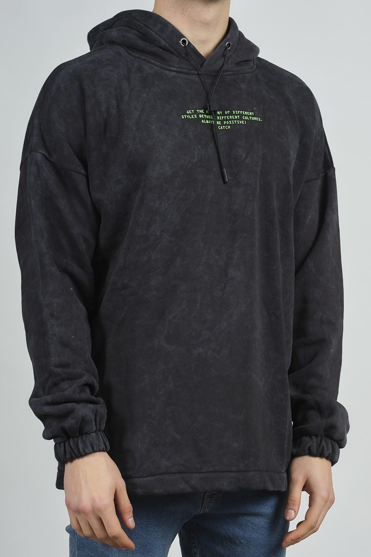 - Antrasit Yıkamalı Baskılı Sweatshirt 1KXE8-44282-36