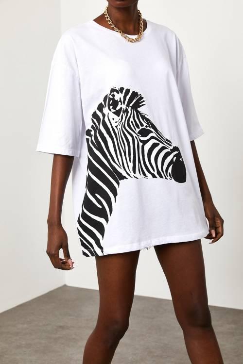 XHAN - Baskılı Salaş T-Shirt 1YXK1-44889-01