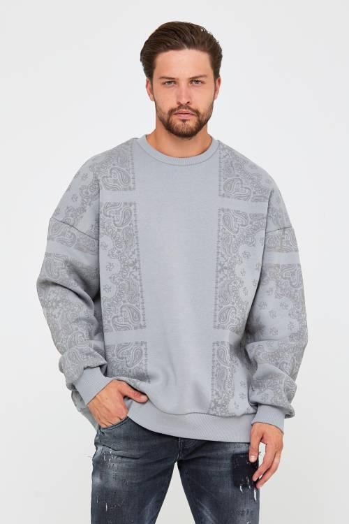 XHAN - Bebe Mavisi Üç İplik Baskılı Sweatshirt 2KXE8-45499-55