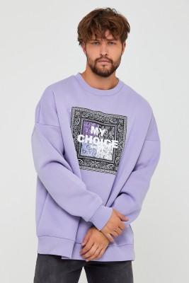 Lila Üç İplik Baskılı Sweatshirt 2KXE8-45500-55 - Thumbnail