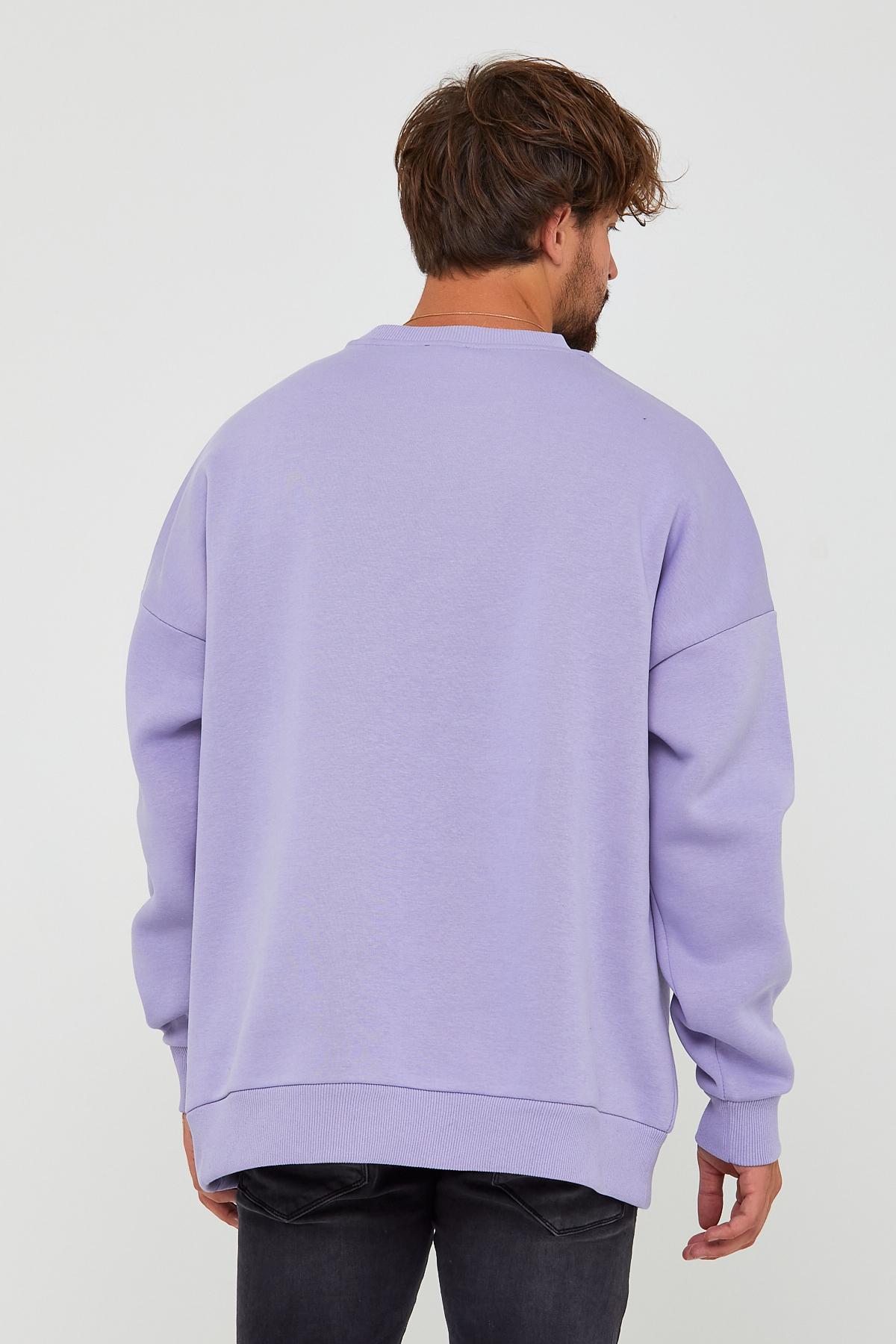 Lila Üç İplik Baskılı Sweatshirt 2KXE8-45500-55