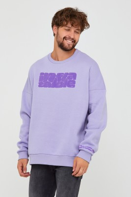XHAN - Bebe Mavisi Üç İplik Baskılı Sweatshirt 2KXE8-45501-55