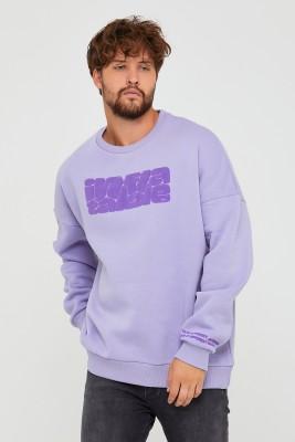 Bebe Mavisi Üç İplik Baskılı Sweatshirt 2KXE8-45501-55 - Thumbnail