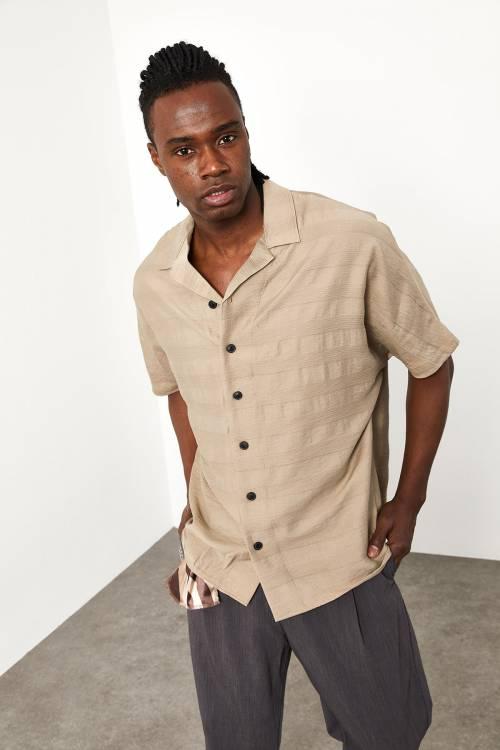 XHAN - Bej Çizgi Detaylı Gömlek 1YXE2-44954-25
