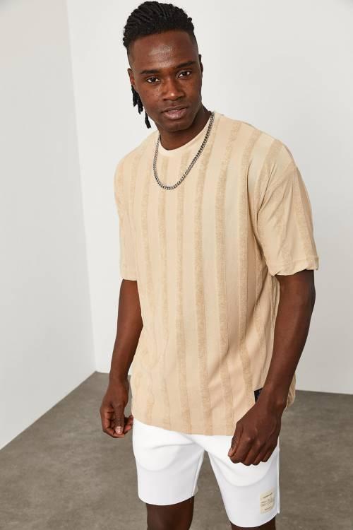 XHAN - Bej Çizgi Detaylı İnce Örme T-Shirt 1YXE1-45087-25