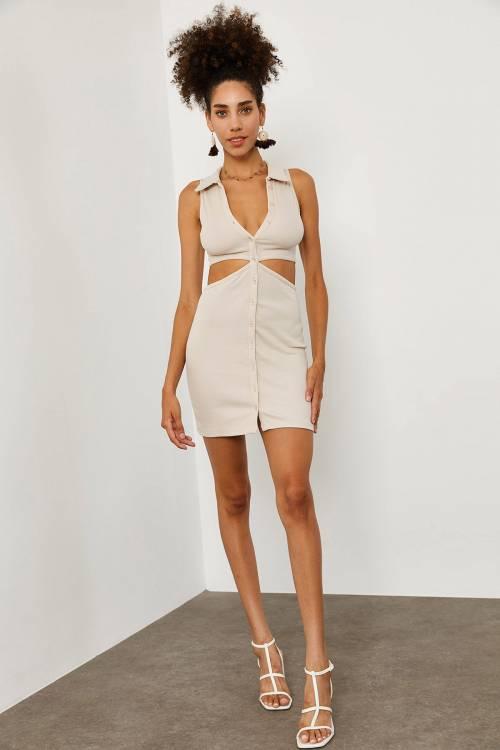 XHAN - Bej Gömlek Yakalı Elbise 1YXK6-45188-25