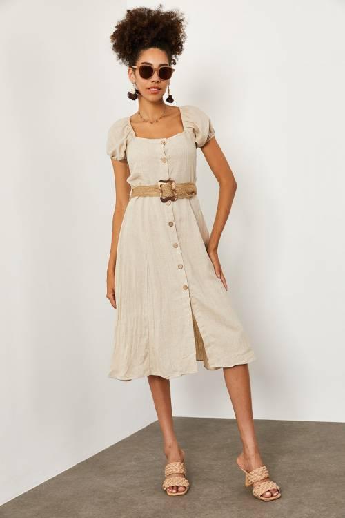 XHAN - Bej Hasır Kemerli Keten Elbise 1YXK6-45228-25