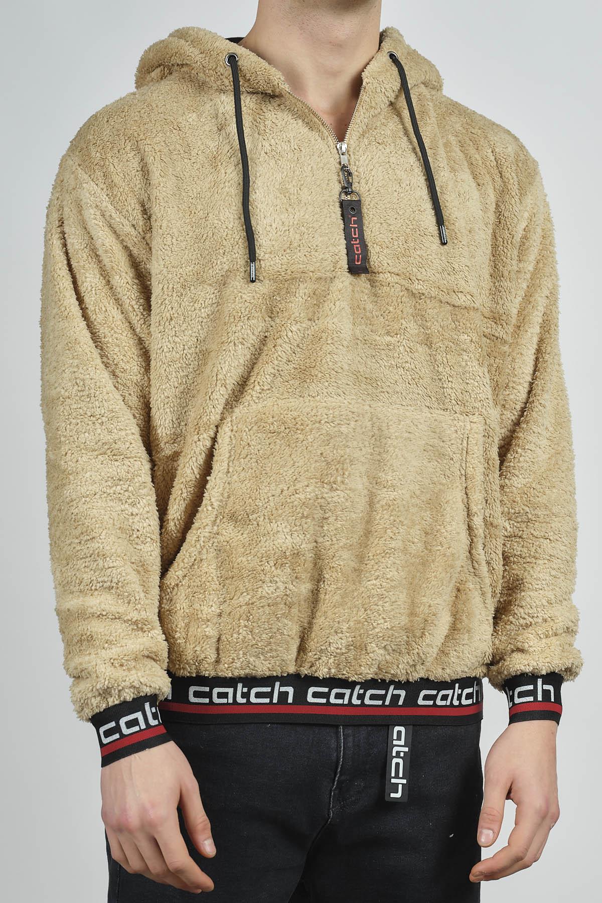 - Bej Kanguru Cepli Peluş Sweatshirt 1KXE8-44270-25
