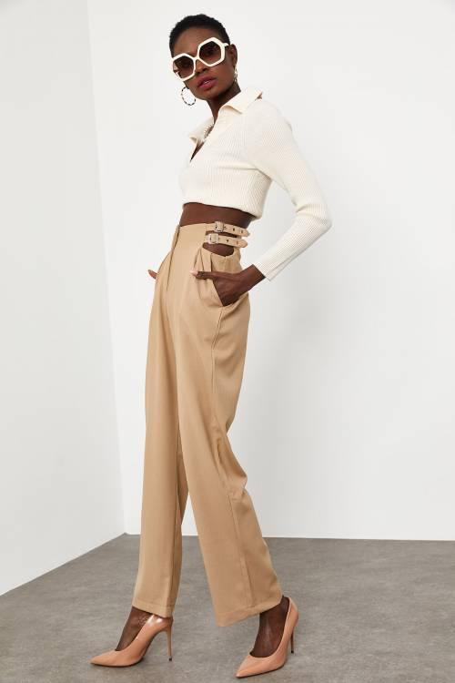 XHAN - Bej Yanı Tokalı Pantolon 1KXK5-44782-25