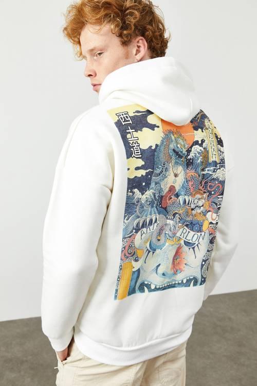 XHAN - Beyaz Arkası Baskı Detaylı Kapüşonlu Sweatshirt 2KXE8-45367-01