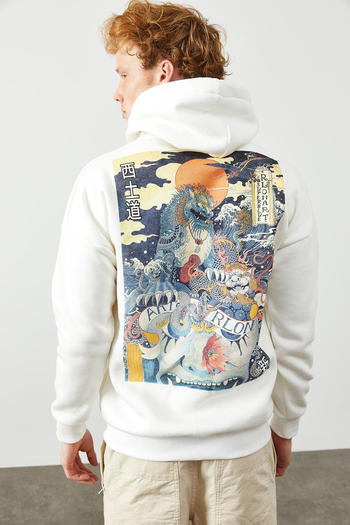 Beyaz Arkası Baskı Detaylı Kapüşonlu Sweatshirt 2KXE8-45367-01