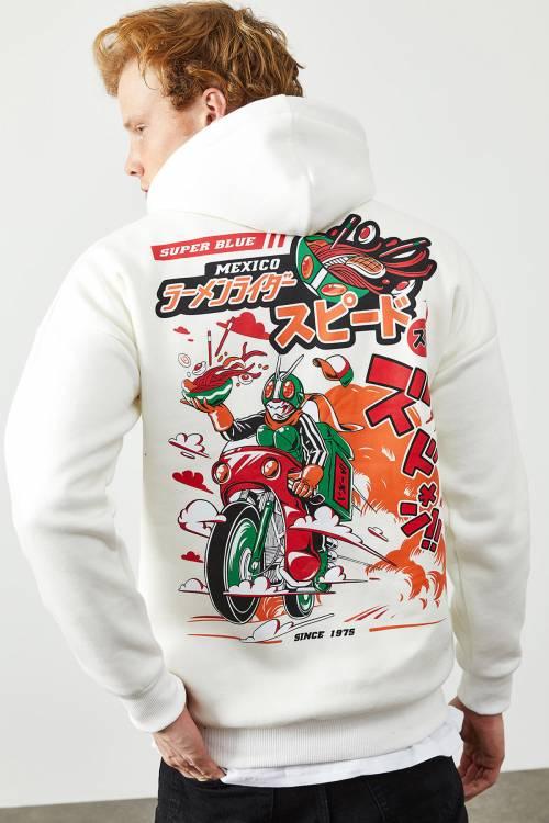 XHAN - Beyaz Arkası Baskı Detaylı Kapüşonlu Sweatshirt 2KXE8-45368-01