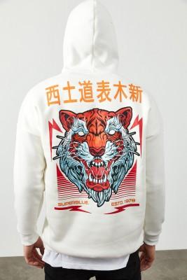 XHAN - Beyaz Arkası Baskı Detaylı Kapüşonlu Sweatshirt 2KXE8-45369-01