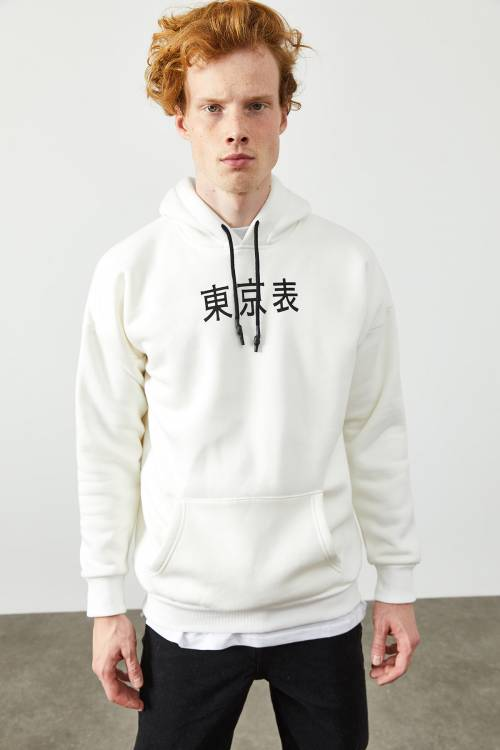 XHAN - Beyaz Arkası Baskı Detaylı Kapüşonlu Sweatshirt 2KXE8-45370-01