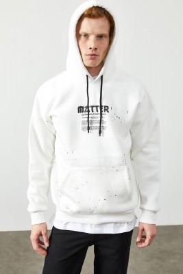 XHAN - Beyaz Arkası Baskı Detaylı Kapüşonlu Sweatshirt 2KXE8-45371-01