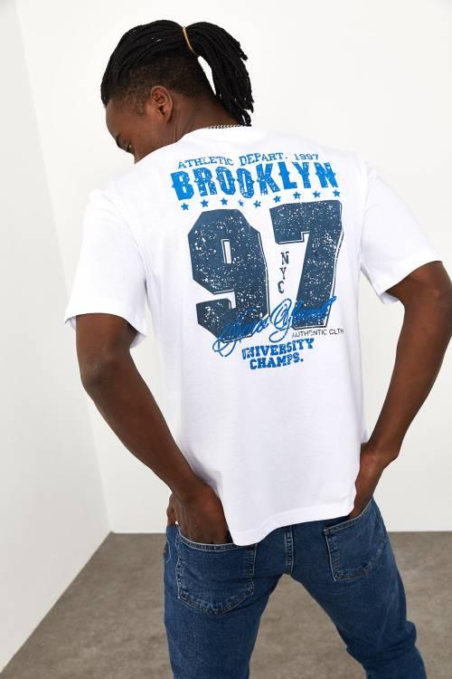 XHAN - Beyaz Arkası Baskılı T-shirt 1YXE1-44946-01