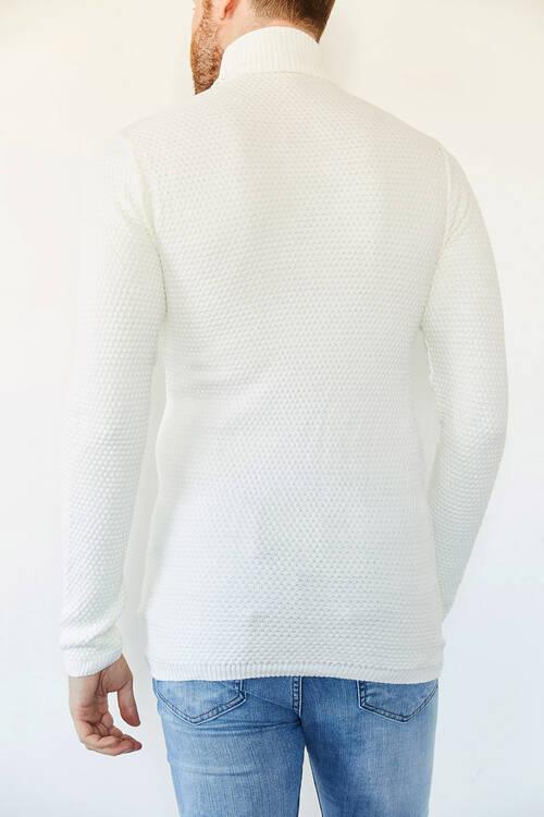 Beyaz Balıkçı Yaka Kazak 0YXE3-44121-01