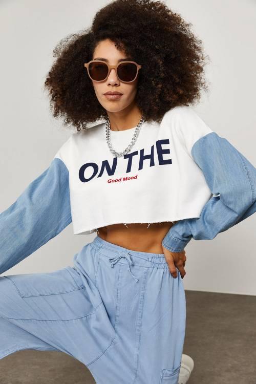 XHAN - Beyaz Baskılı Crop Sweatshirt 1YXK8-45277-01