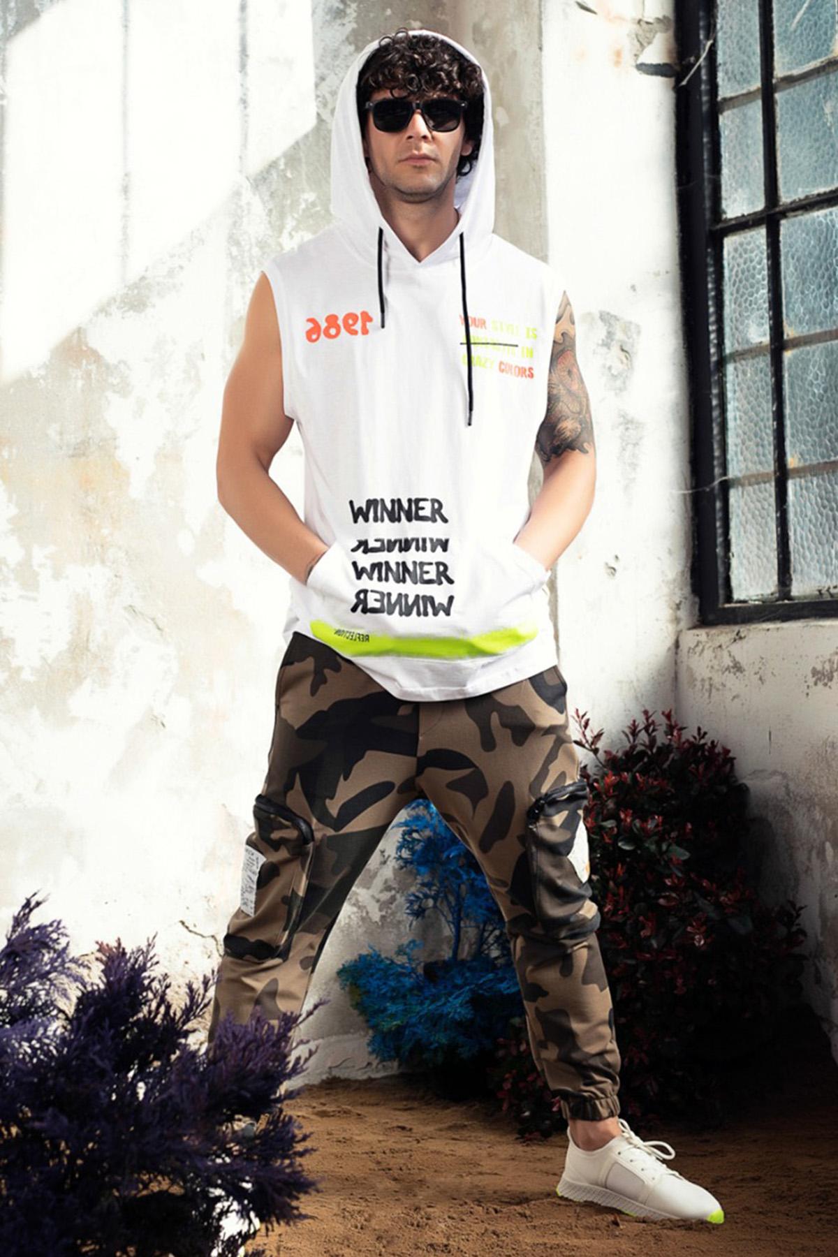 XHAN - Beyaz Baskılı Kolsuz Sweatshirt 1KXE8-44762-01