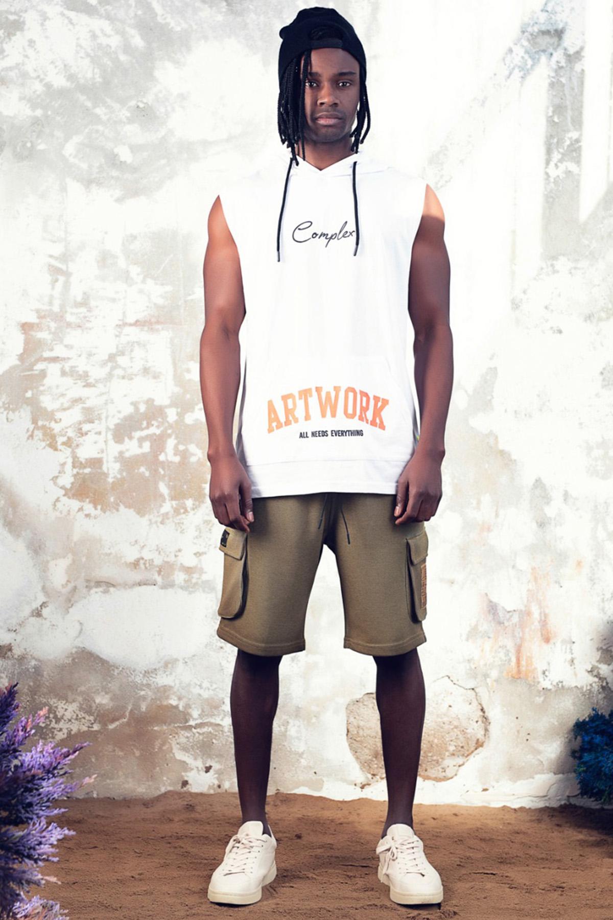 XHAN - Beyaz Baskılı Kolsuz Sweatshirt 1KXE8-44763-01