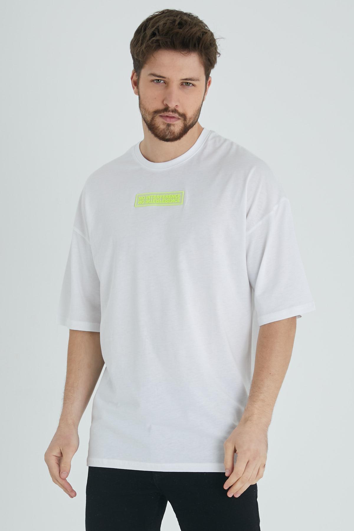 XHAN - Beyaz Baskılı Oversize T-Shirt 1KXE1-44677-01