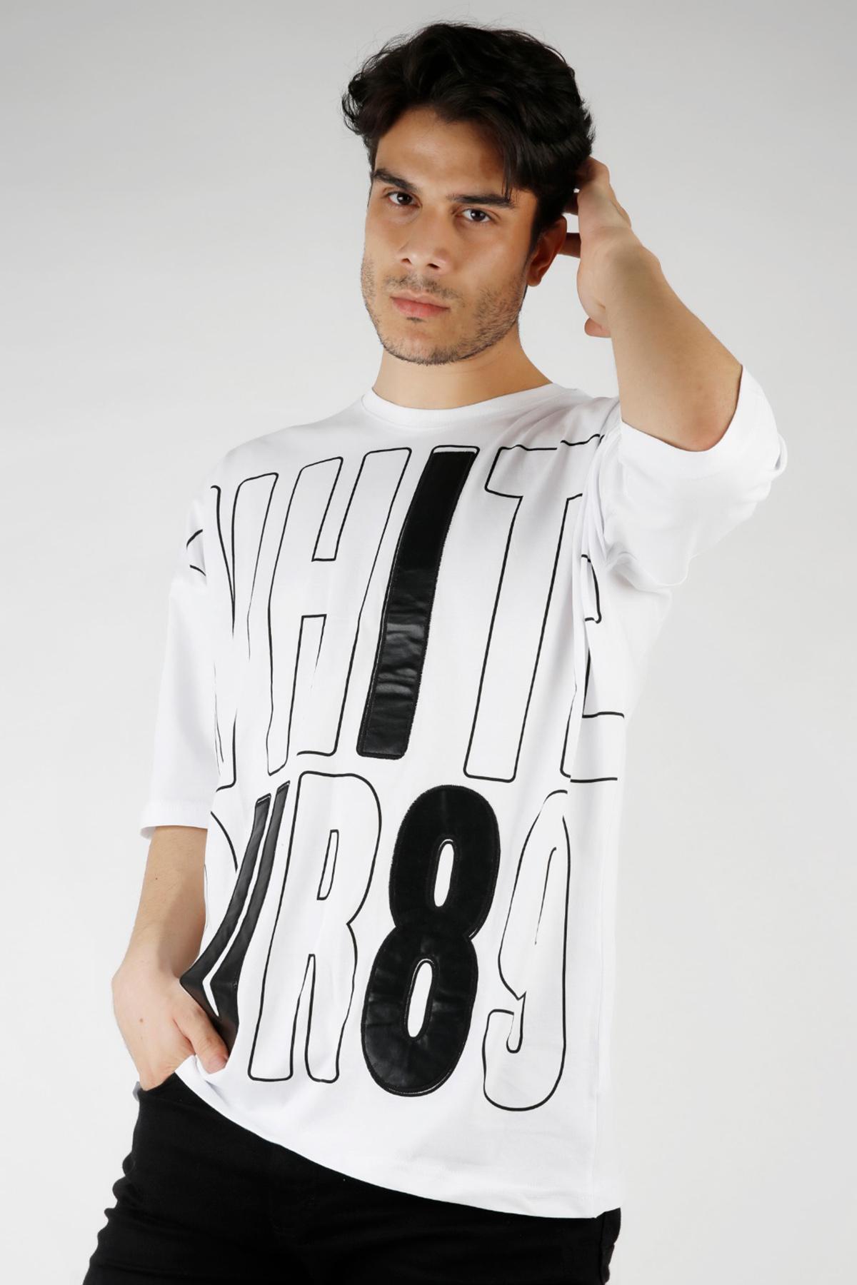 XHAN - Beyaz Baskılı Oversize T-Shirt 1KXE1-44679-01