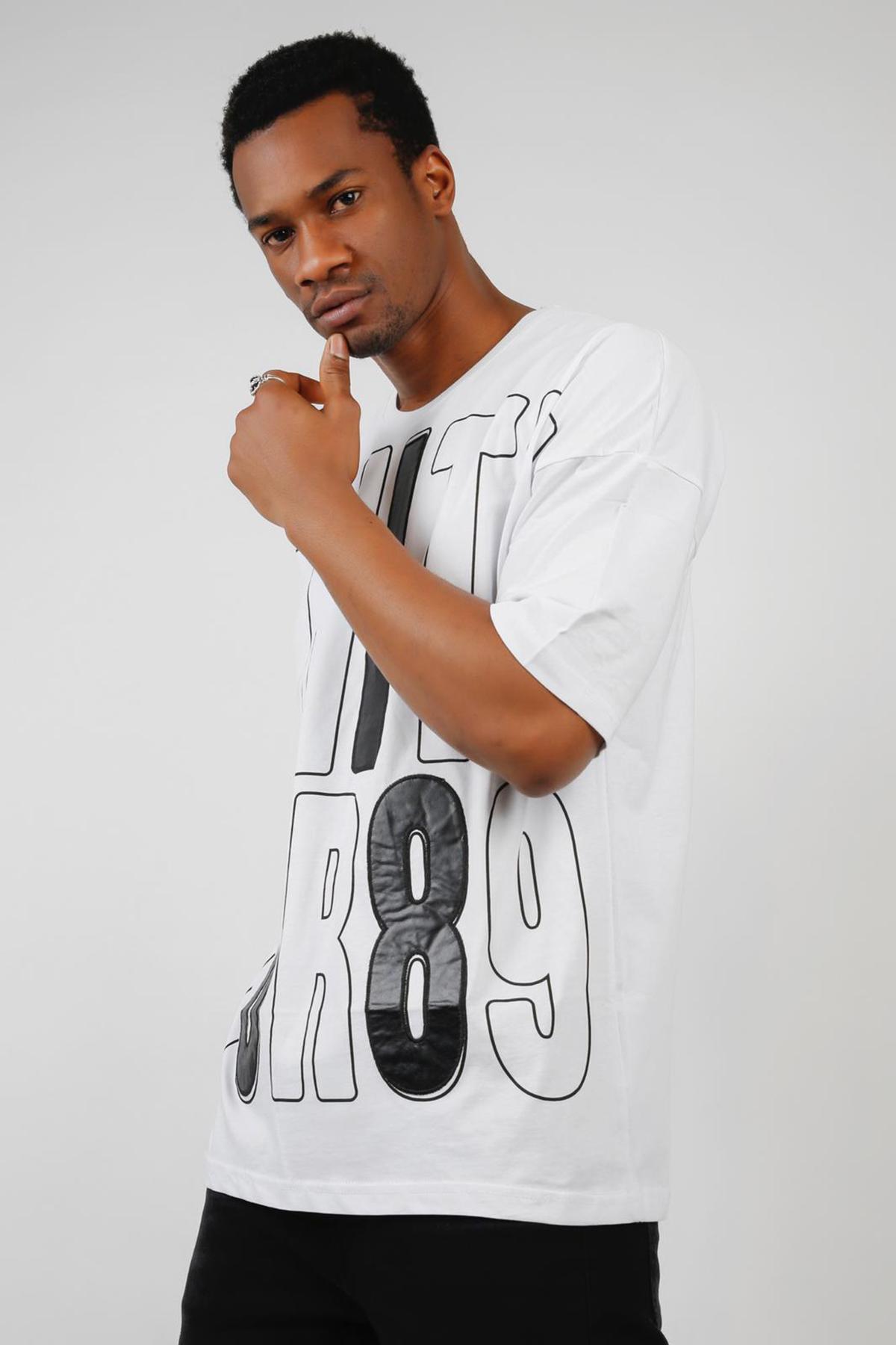 XHAN - Beyaz Baskılı Oversize T-Shirt 1KXE1-44679-52