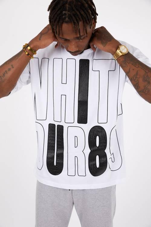 XHAN - Beyaz Baskılı Oversize T-Shirt 1YXE1-45113-01