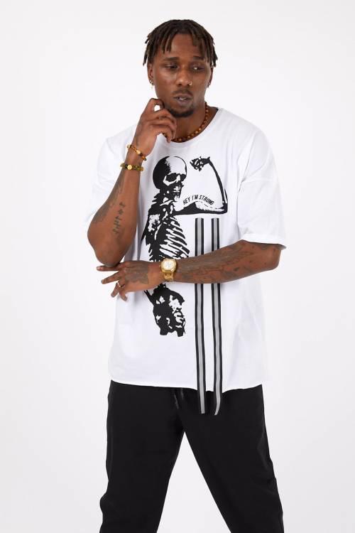 XHAN - Beyaz Baskılı Oversize T-Shirt 1YXE1-45114-01