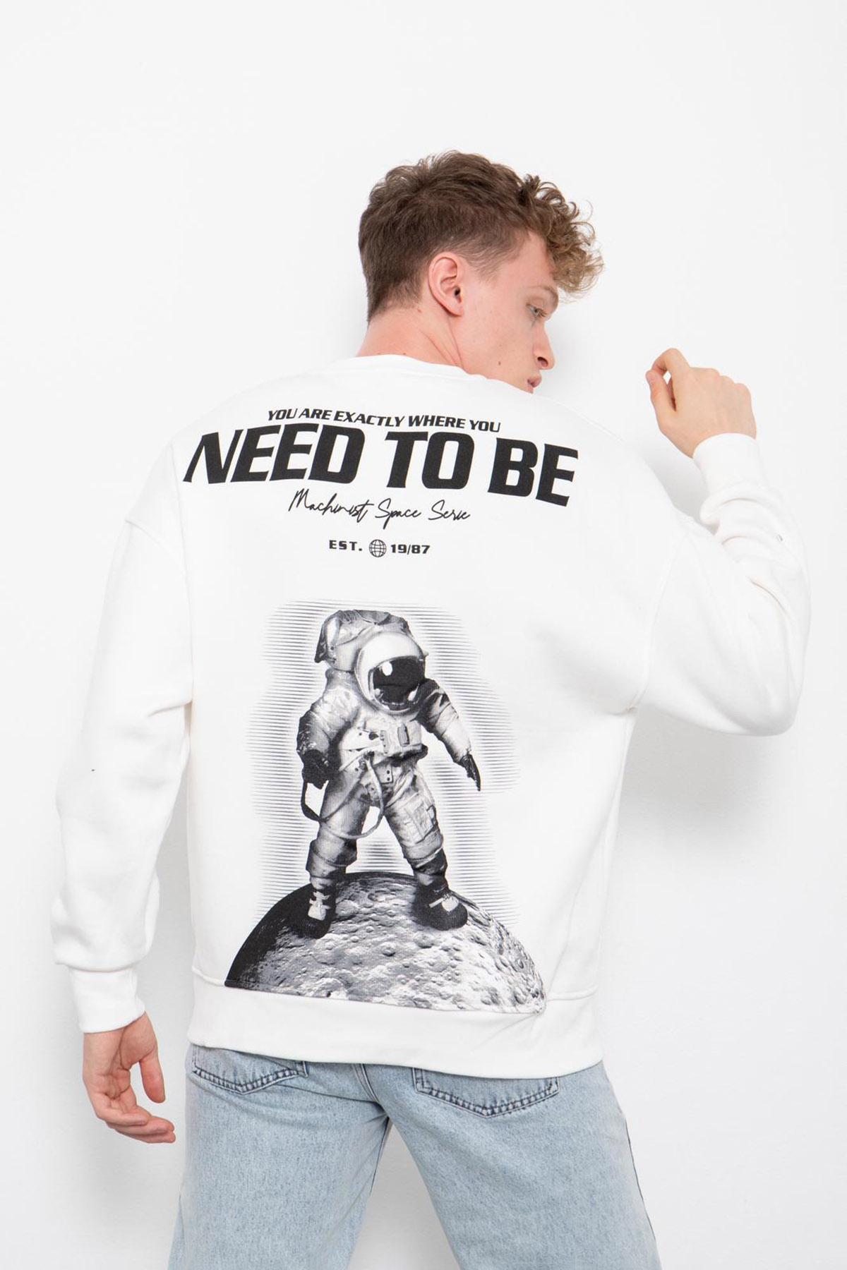Beyaz Baskılı Sweatshirt 2KXE8-45405-01
