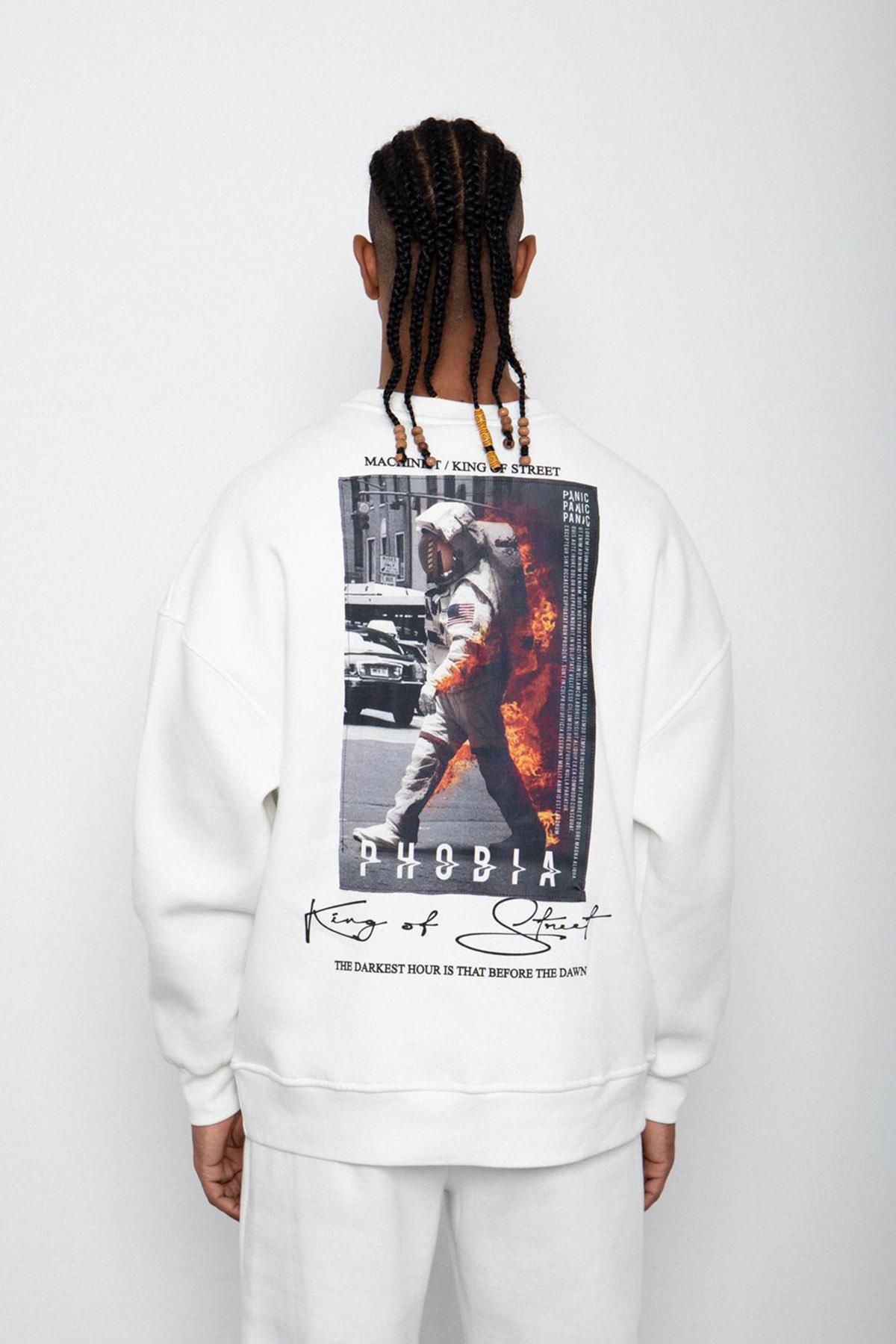 Beyaz Baskılı Sweatshirt 2KXE8-45406-01