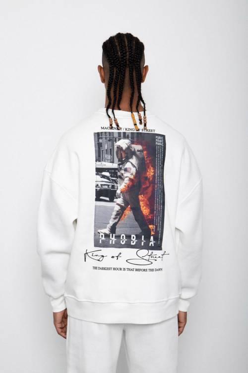 XHAN - Beyaz Baskılı Sweatshirt 2KXE8-45406-01