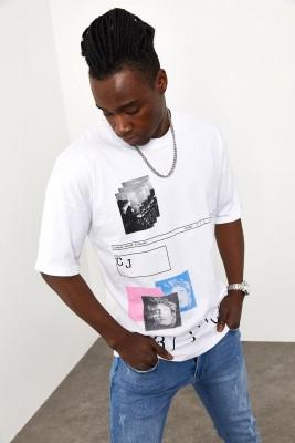 XHAN - Beyaz Baskılı T-shirt 1YXE1-44944-01