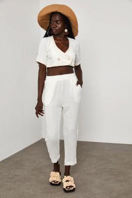 XHAN - Beyaz Beli Lastikli Bürümcük Kumaş Pantolon 1YXK5-45075-01