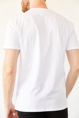 XHAN - Beyaz Bisiklet Yaka Basic T-Shirt 0YXE1-44069-01
