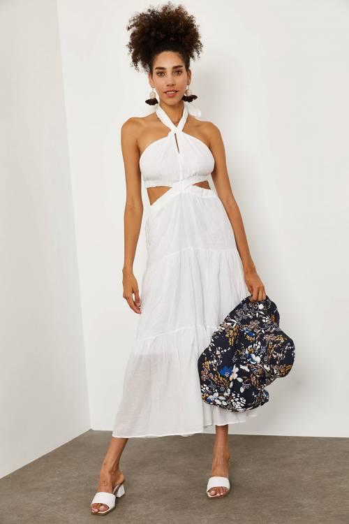 XHAN - Beyaz Boyundan Bağlamalı Midi Boy Elbise 1YXK6-45192-01