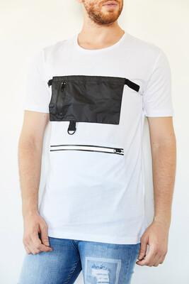 XHAN - Beyaz Cep & Fermuar Detaylı Uzun T-Shirt 0YXE1-44109-01