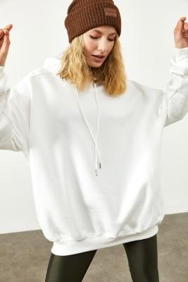 XHAN - Beyaz Cepli Oversize Sweatshirt 2KXK8-45508-01