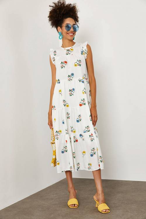 XHAN - Beyaz Çiçek Desenli Pamuk Elbise 1YXK6-45231-01