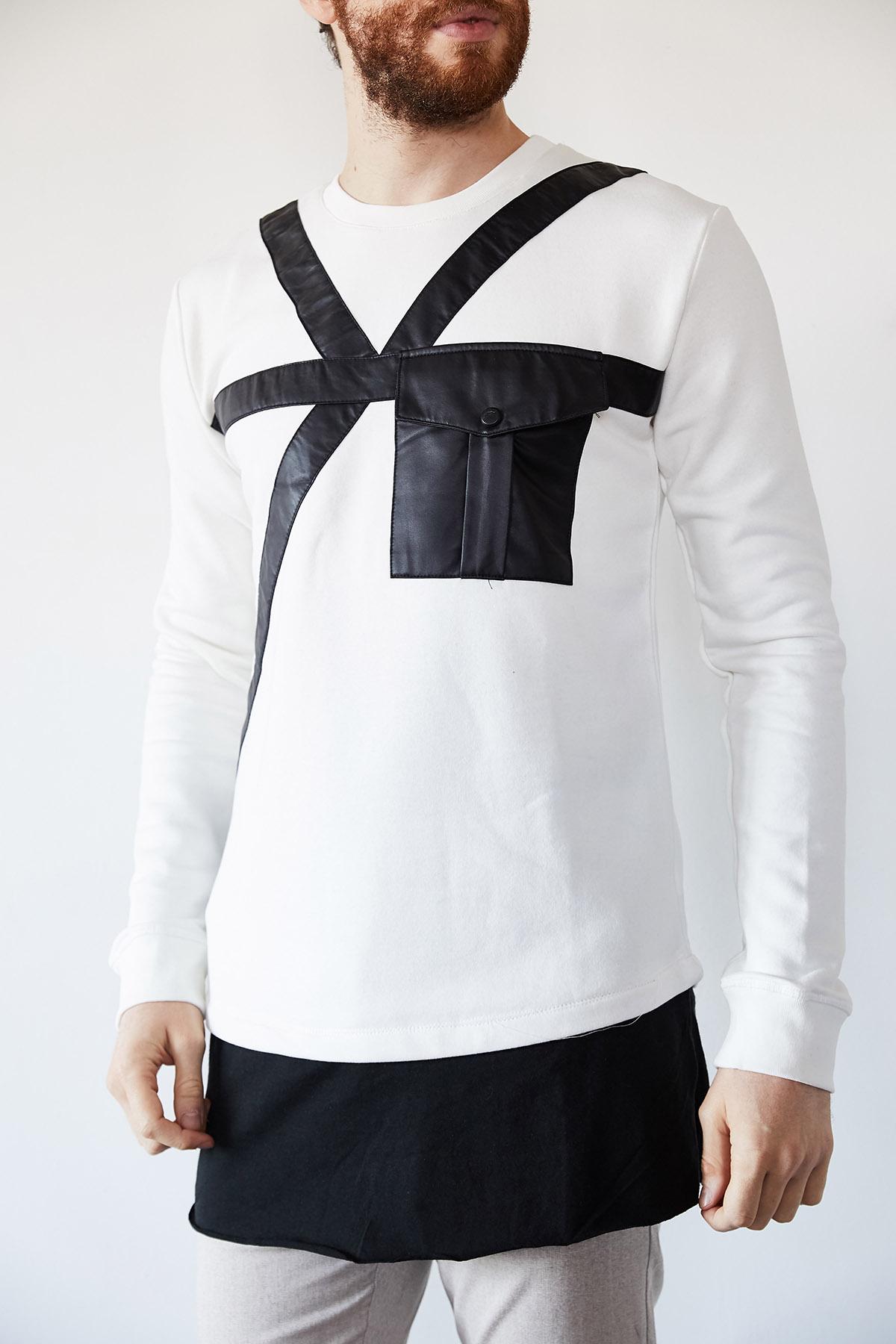- Beyaz Deri Cep Detaylı Garnili Sweatshirt 1KXE8-44240-01