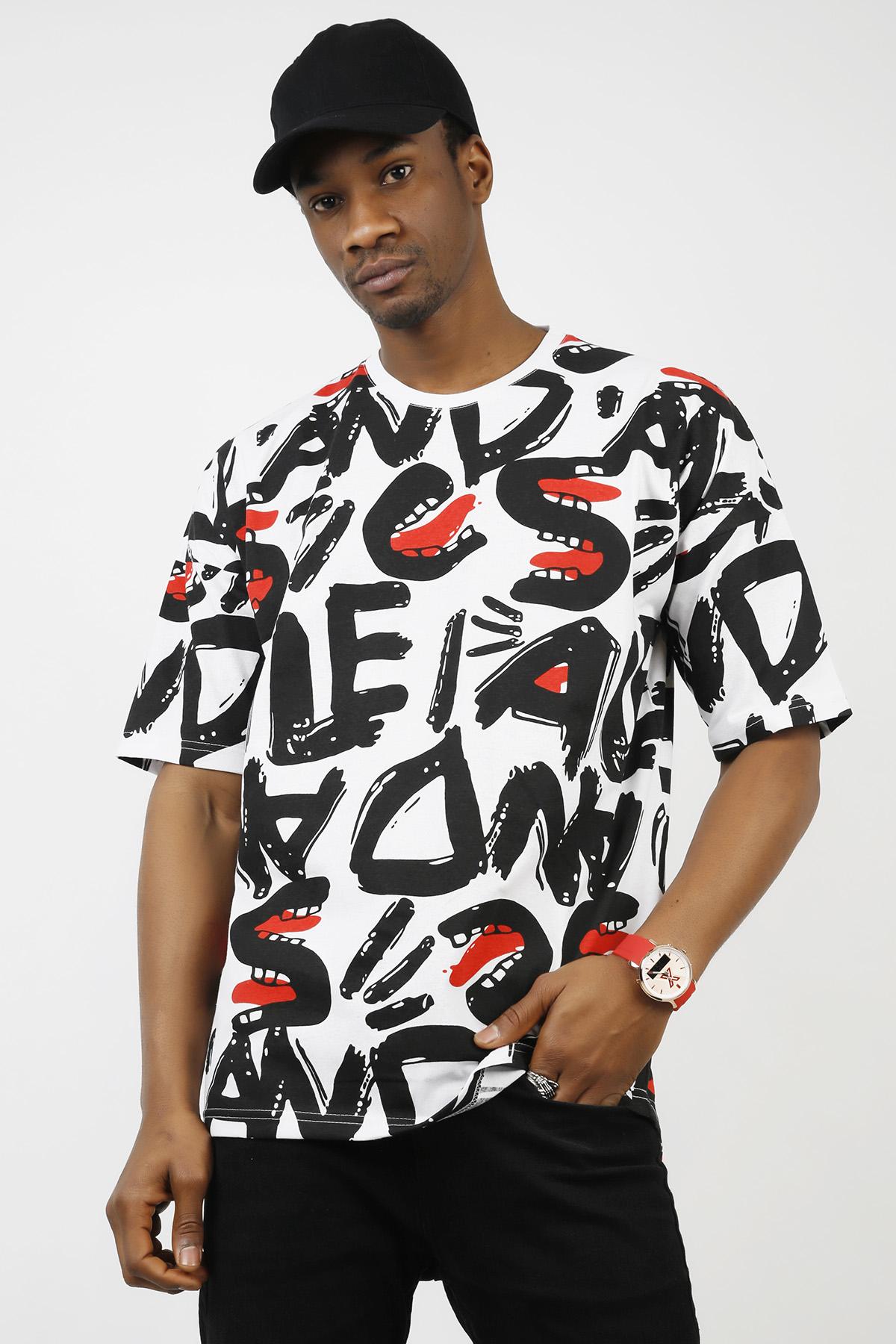 XHAN - Beyaz Desenli Oversize T-Shirt 1KXE1-44726-01