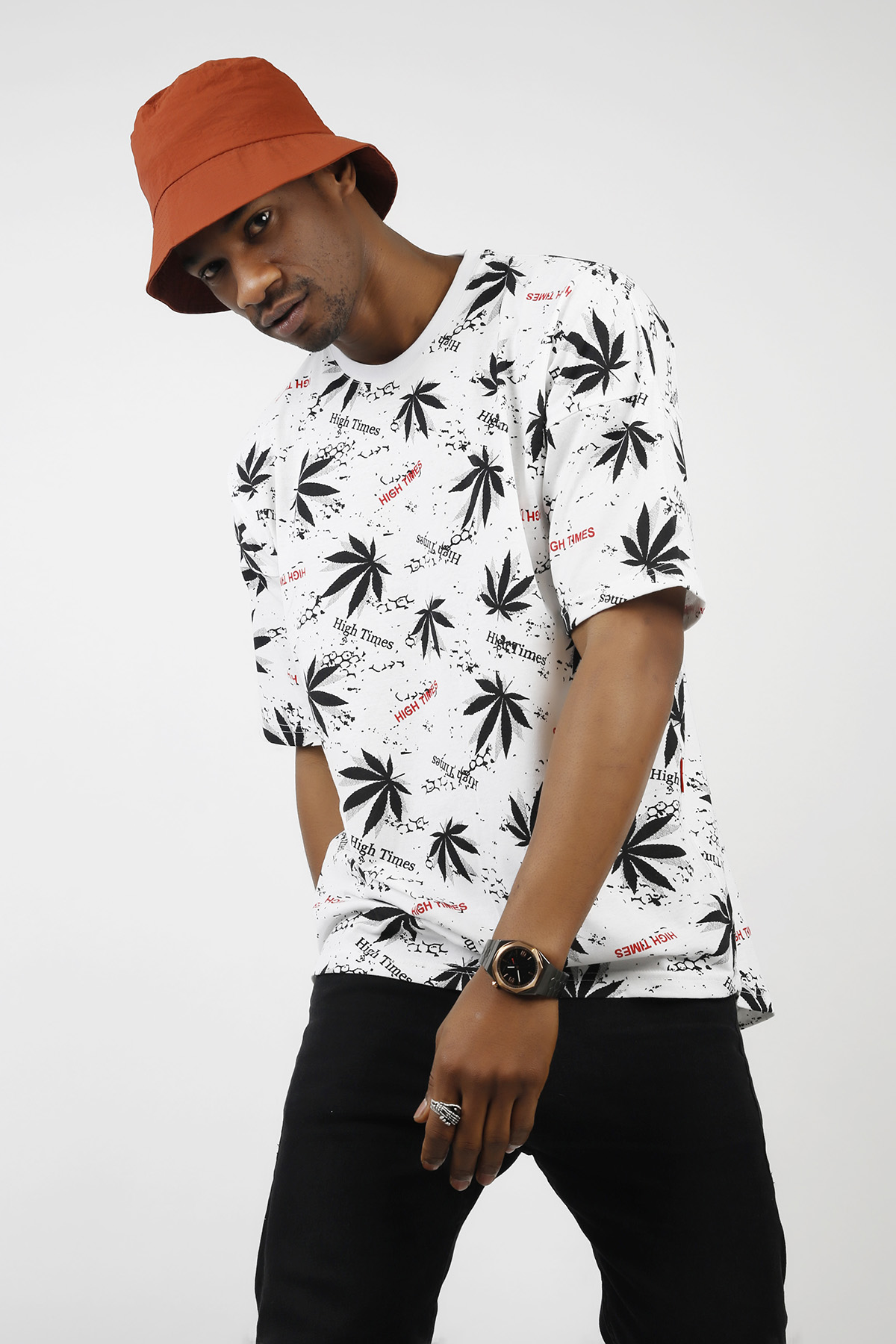 XHAN - Beyaz Desenli Oversize T-Shirt 1KXE1-44727-01