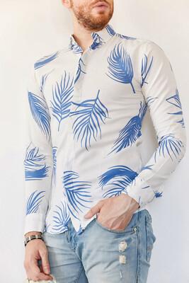 XHAN - Beyaz Desenli Slim Fit Gömlek 0YXE2-44024-01