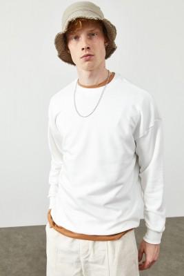 XHAN - Beyaz Düz Sweatshirt 2KXE8-45349-01