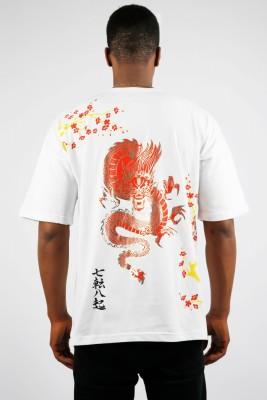 XHAN - Beyaz Ejder Baskılı Oversize T-Shirt 1YXE1-44993-01