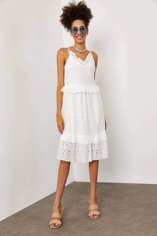 XHAN - Beyaz Güpürlü Askılı Elbise 1YXK6-45227-01